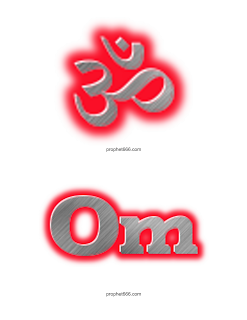Glowing Om 3D in Hindi and English