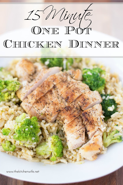A plate of the finished 15 minute One Pot Chicken Dinner Recipe with the title text above it.