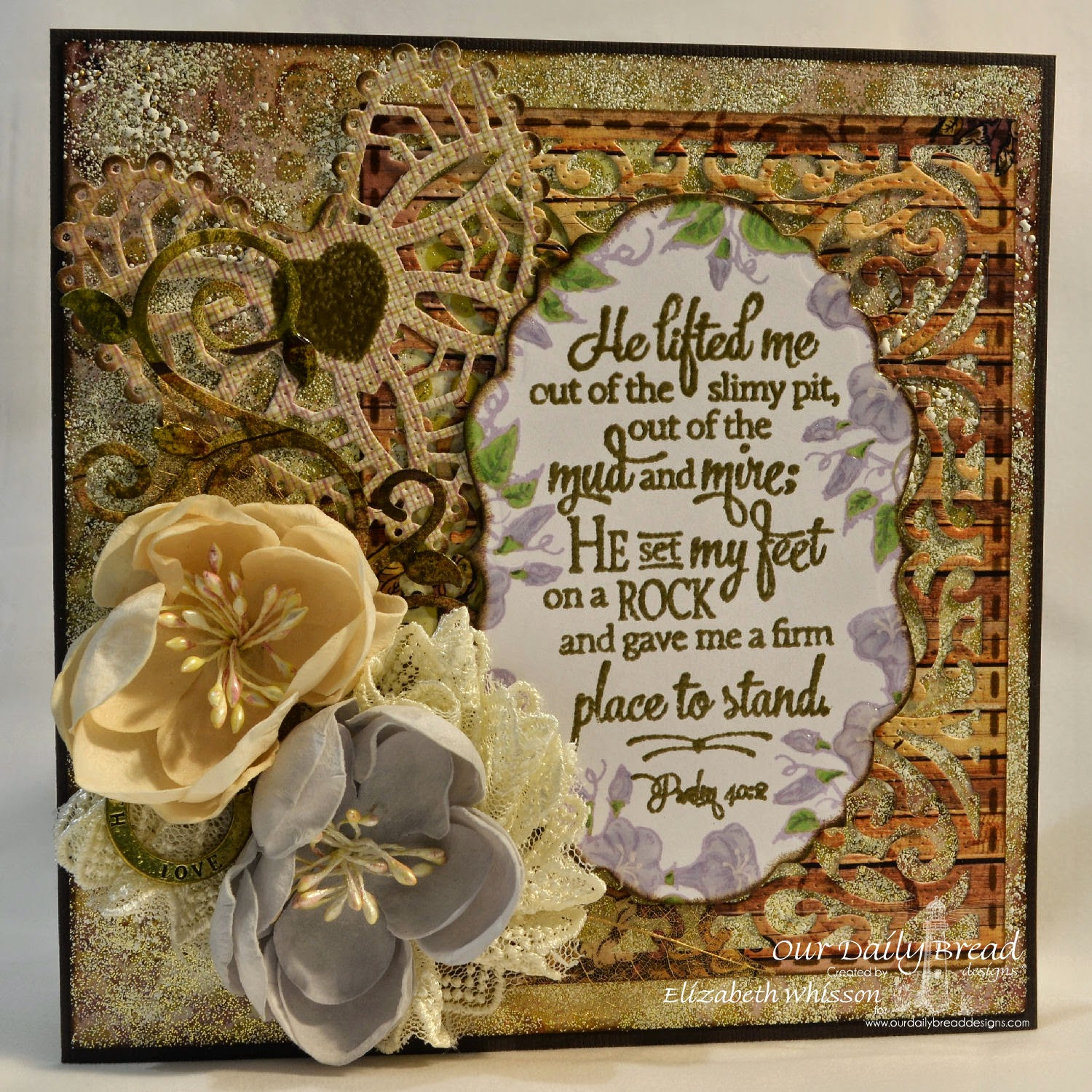Stamps - Our Daily Bread Designs Glory, Scripture Collection 12, ODBD Custom Vintage Labels Die, ODBD Custom Vintage Flourish Pattern Die, ODBD Custom Ornate Hearts Die, ODBD Custom Fancy Foliage Die, ODBD Rustic Beauty Paper Collection