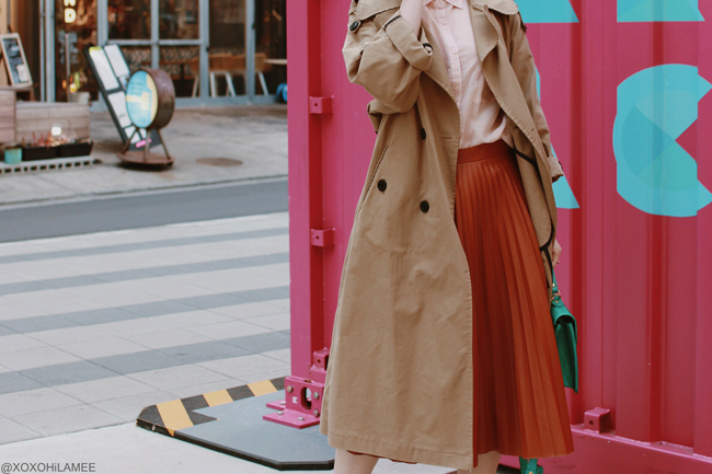 Japanese Fashion Blogger,MizuhoK,20190327OOTD, ZAFUL=trench coat, GU=pink shirt, Dresslily=pleated skirt and more...