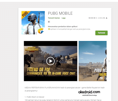 PUBG Mobile di Google Play Store