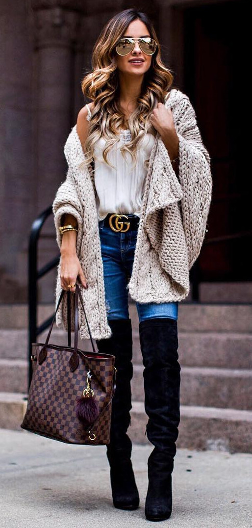 cable knit cardi wearing with over-knee boots