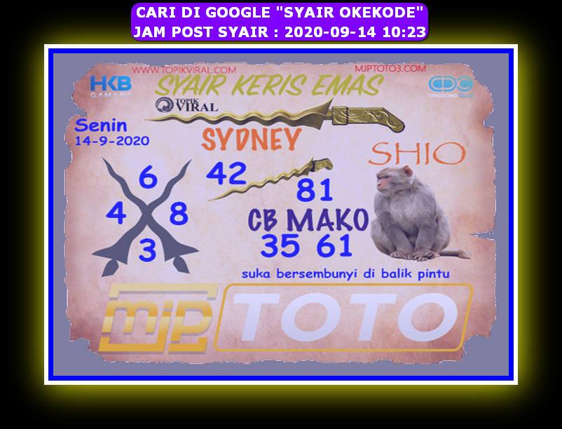 Kode syair Sydney Senin 14 September 2020 168