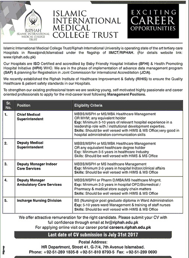 Jobs in Islamic International Medical College Trust Islamabad July 2017