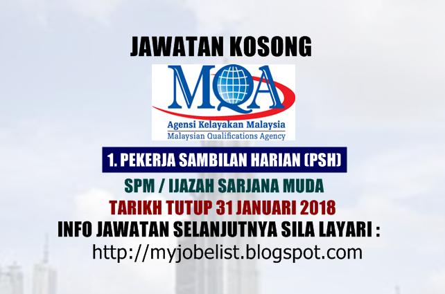 Jawatan Kosong Kerajaan Terkini di Agensi Kelayakan Malaysia (MQA) 2018