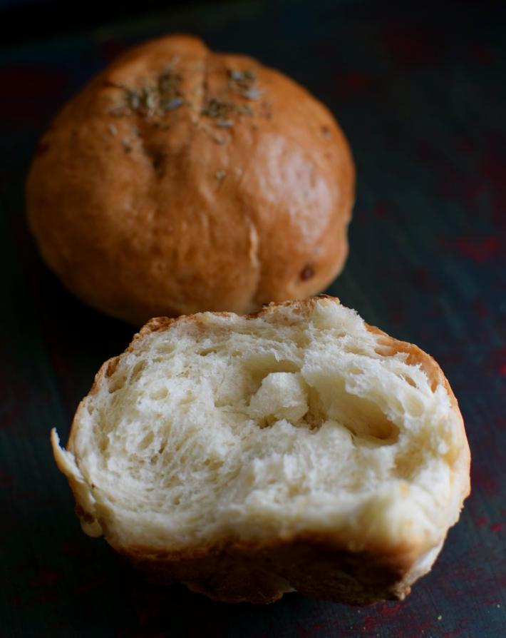 Interior del pan (bolillo) para ver su miga