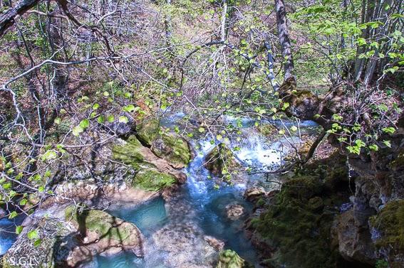 Agua turquesa en el nacedero del Urederra en la sierra de Urbasa