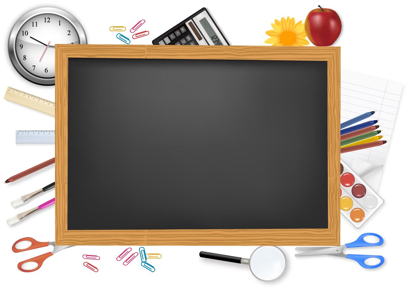 黒板と文房具のクリップアート ...