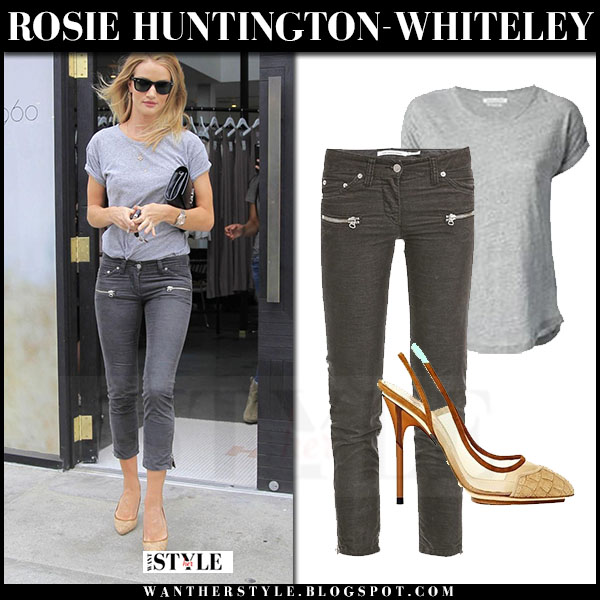 Rosie Huntington-Whiteley in grey isabel marant t-shirt, grey cropped isabel marant ivo trousers and gold pumps what she wore