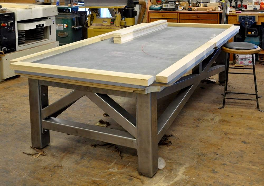 Dorset Custom Furniture - A Woodworkers Photo Journal: new steel and wlanut pool table