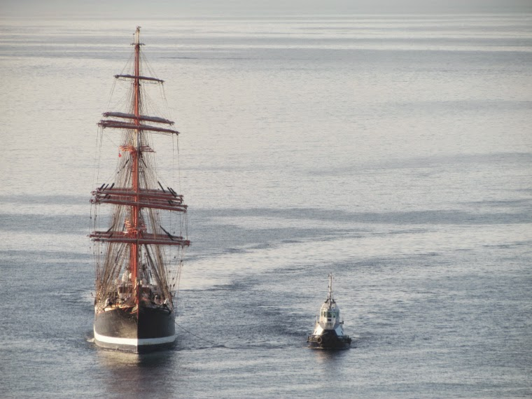 russian Sedov sailboat arriving in a tranquil sea
