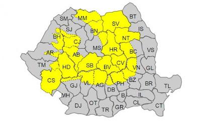 ANM, időjárás előrejelzés, Románia, hófúvás, havazás,