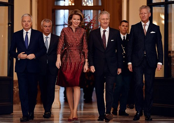 Queen Mathilde wore Natan Dress from Fall Winter 2017/2018 Collection fort Diplomatic Contact Days 2017
