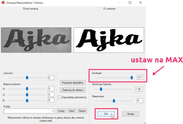 zmiana kontrastu obrazu w irfan view aby rozpoznać font