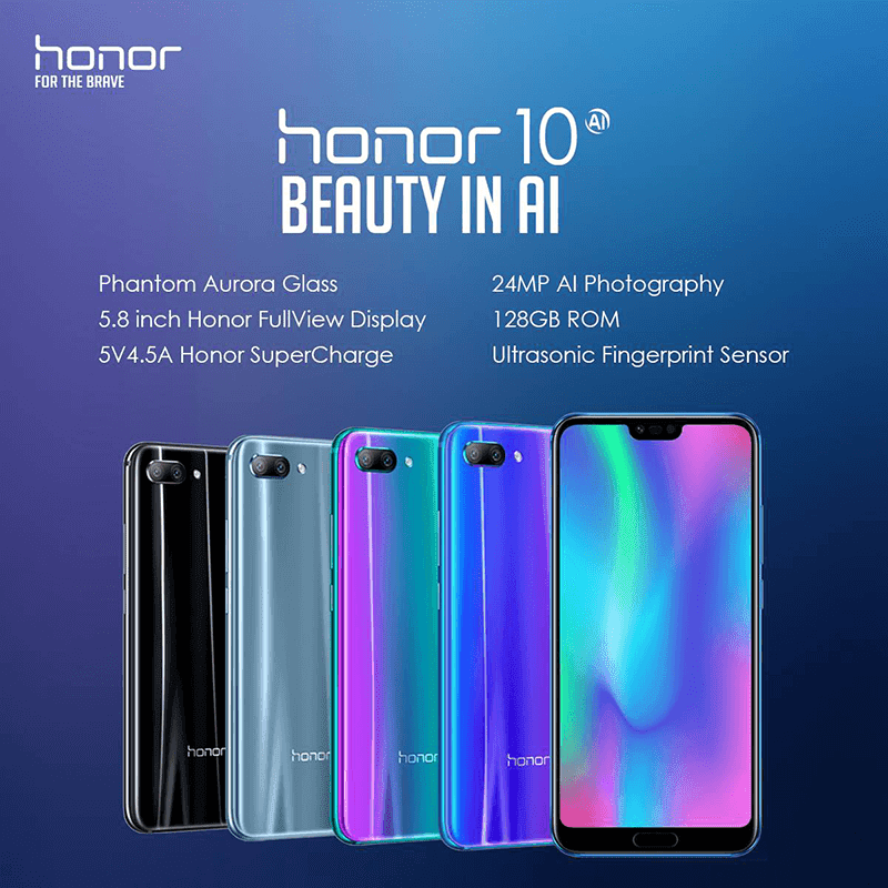 The Honor 10 in 4 different colors