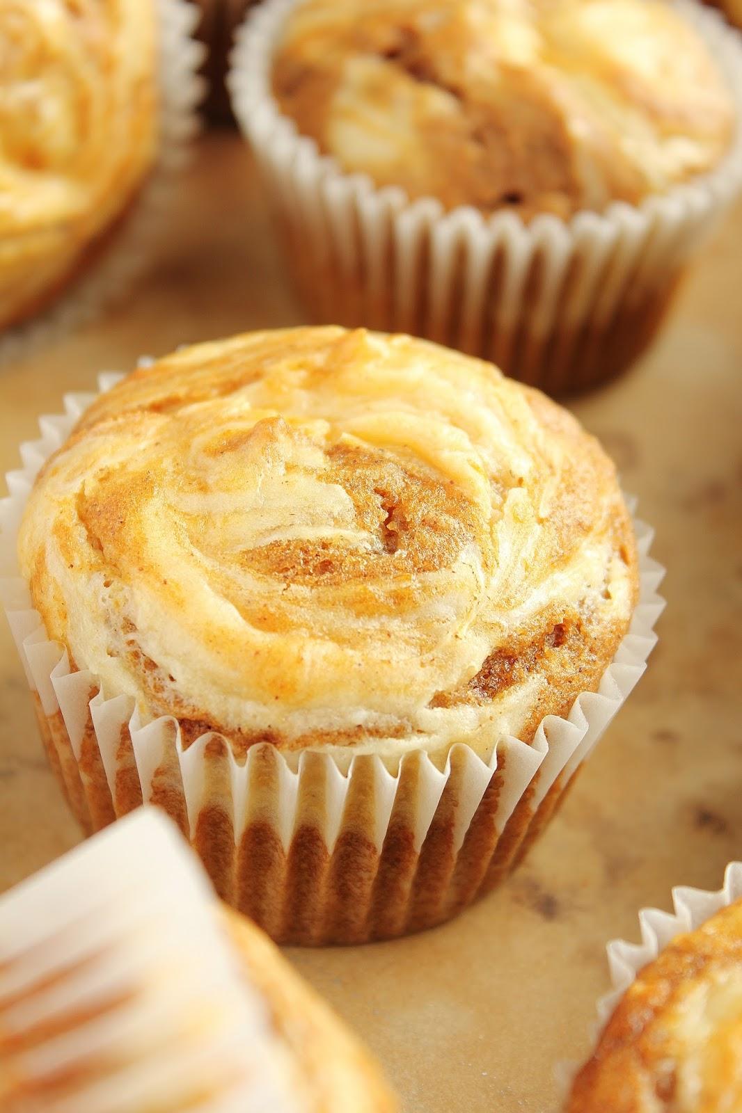 Pumpkin Cheesecake Swirl Muffins