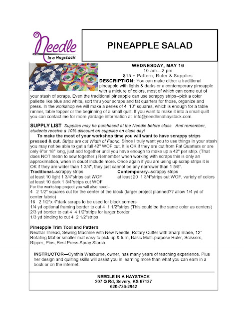 PINEAPPLE SALAD...May 16; Sign up for class along with a buddy & You Get 25% off this April or May 2018 Class.