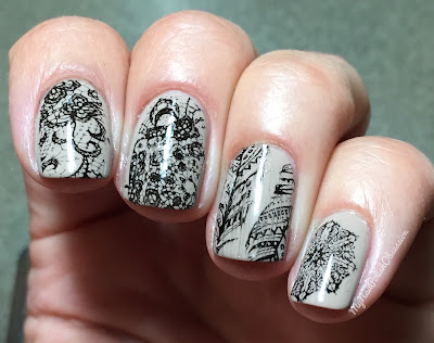 Lady Queen Crown Dappled Floral Pattern Manicure Template Lace Series BC3