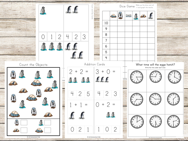 penguin graphing, math worksheets, telling time, and more wokrsheets for kids in preschool, kindergarten, first grade, and 2nd grade