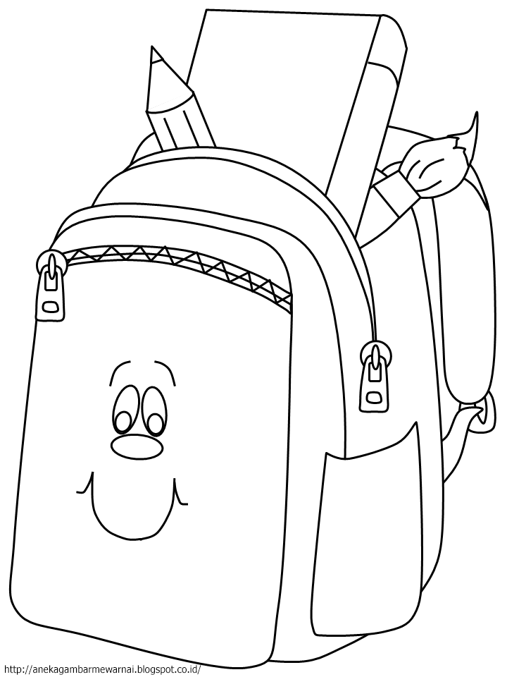 Gambar Mewarnai Tas Sekolah Untuk Anak PAUD dan TK 2