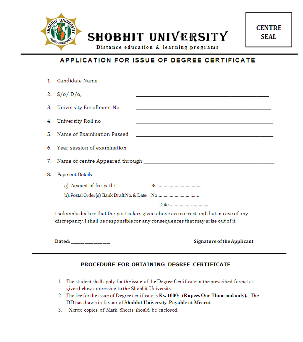 Shobhit University In Distance Education Meerut Up Apply Degree