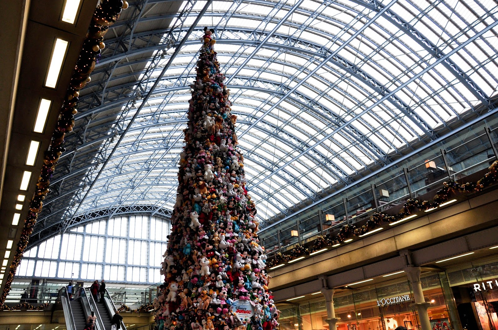 The Christmas tree made of Disney soft toys, St. Pancras International, London, England