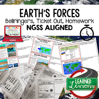 Earth's Forces Worksheets, Earth Science NGSS Bellringers, Science Warm Ups, Science Homework, Science Ticket Out