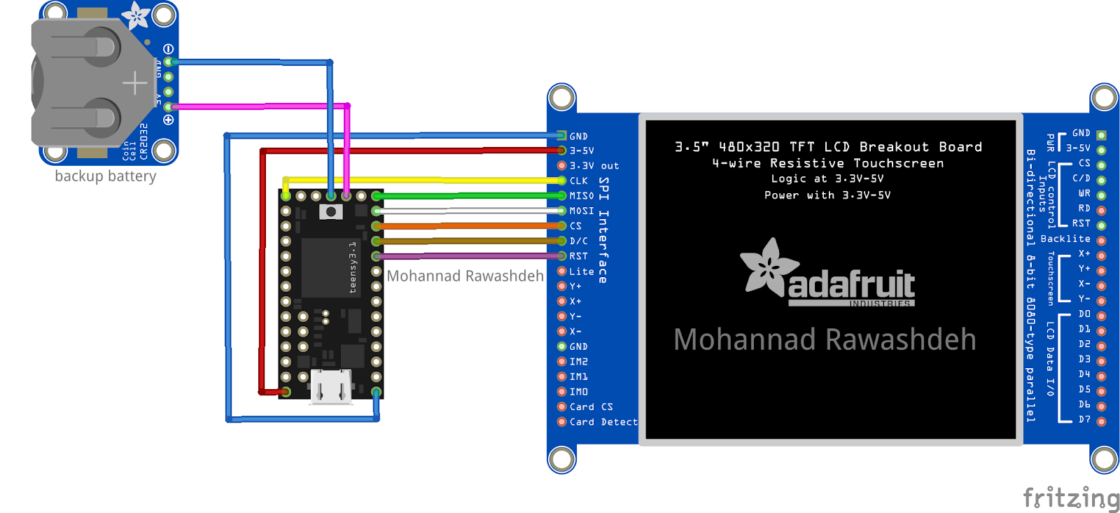Teensy Rtc And Adafruit 35 Inch Tft Display Mb Raw Wiring Diagram Schematic