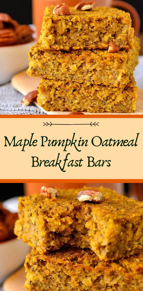Maple Pumpkin Oatmeal Breakfast Bars #healthyfood #dietketo