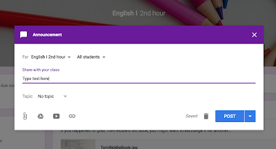 Posting an announcement in Google Classroom™  www.traceeorman.com
