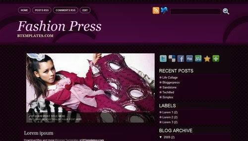 Download Fashion Press Blogger Template