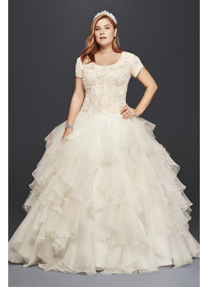 abfef0c449f7 Oleg Cassini At David's Bridal Plus Size Modest $1,558.00. Demure and  fantastic plus size modest bridal ballgown wedding dress with dramatic lace  beaded ...