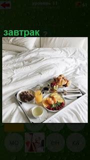 завтрак в постель на подносе принесли