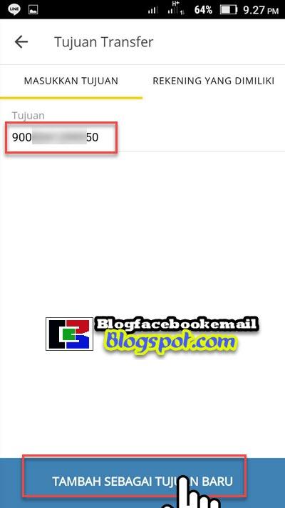 mengisikan nomer rekening tujuan di mandiri online