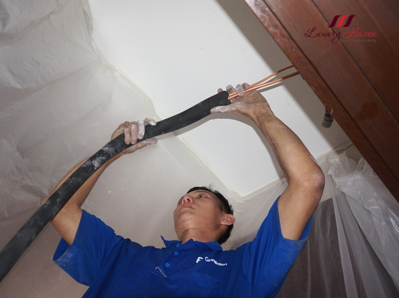 aircon installation swg 22 copper pipe armaflex insulation