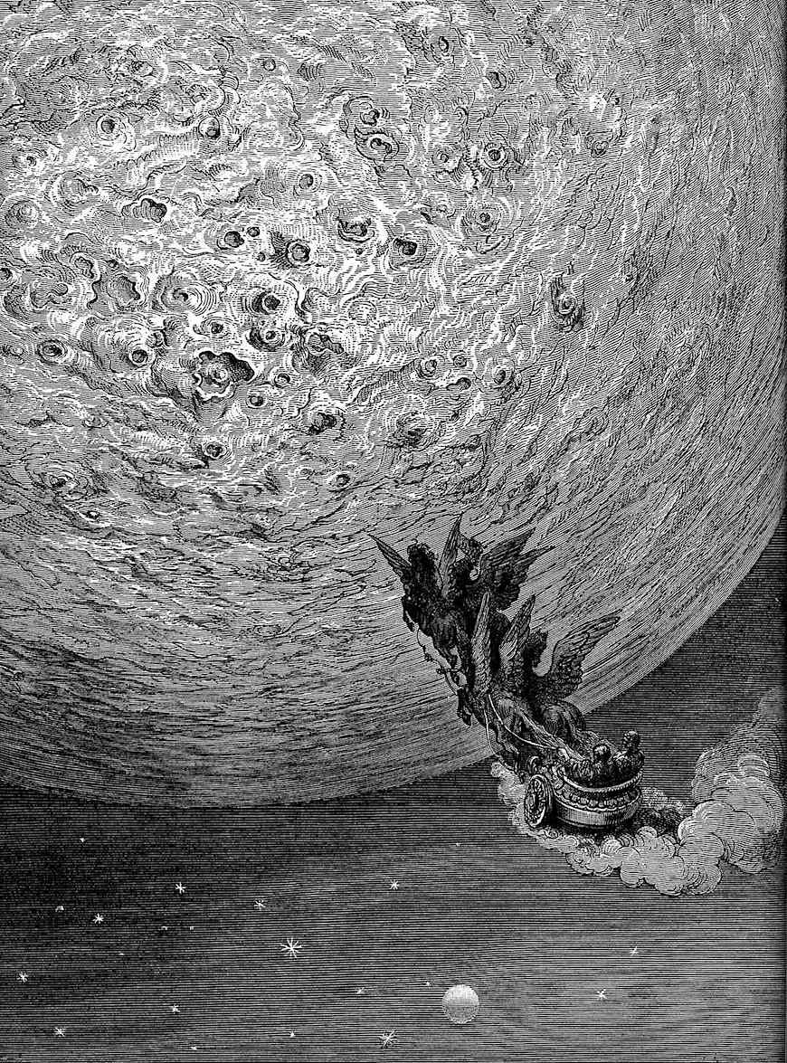 a Gustave Dore book illustration of a chariot trip to the moon