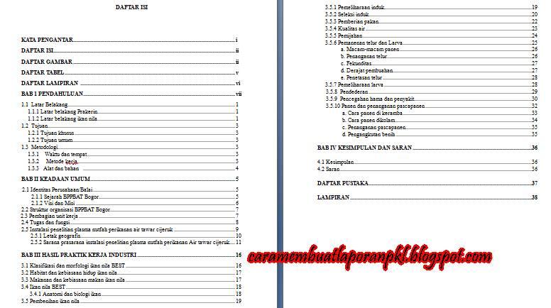 Format Daftar Isi Untuk Laporan Pkl Cara Membuat Laporan Pkl