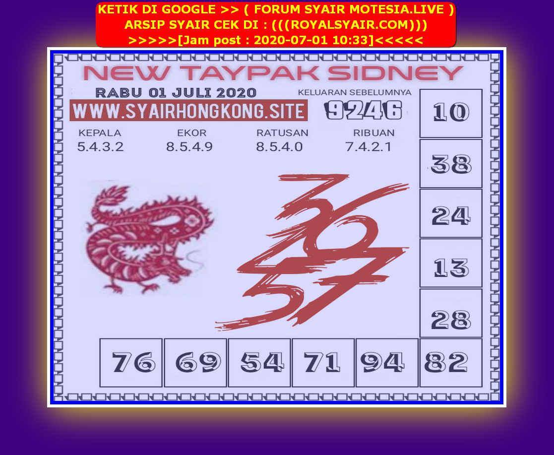 Kode syair Sydney Rabu 1 Juli 2020 63