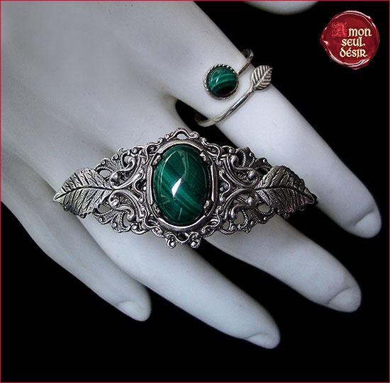 malachite parure bijoux elfique argent forêt nature woodland jewelry silver elven elvish