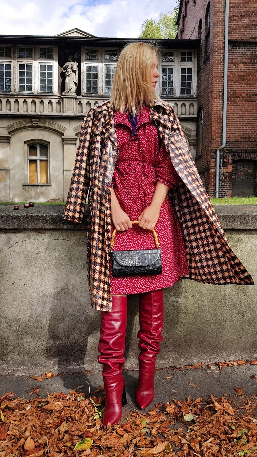 fashion; inspiration; fall; jesien; trendy; zara; kozaki; krata płaszcz; red dress
