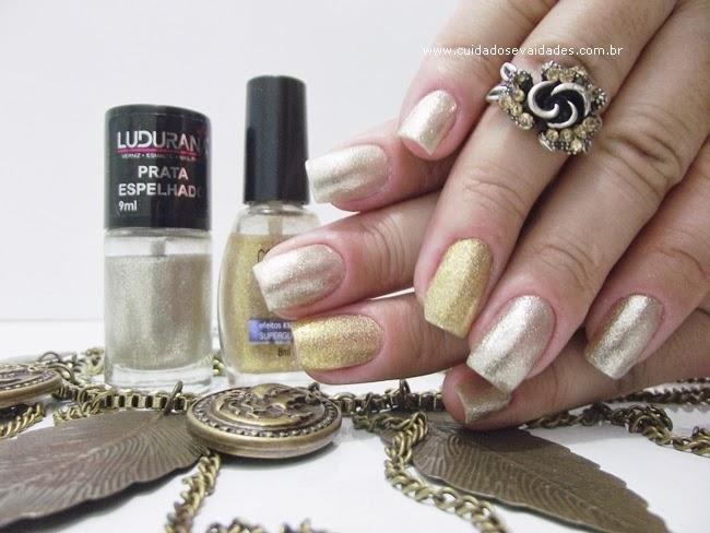 Unhas Francesinha Douradas para o Reveillon