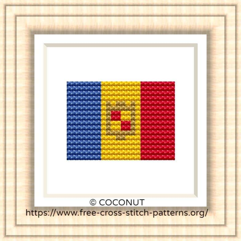 NATIONAL FLAG OF ANDORRA CROSS STITCH CHART