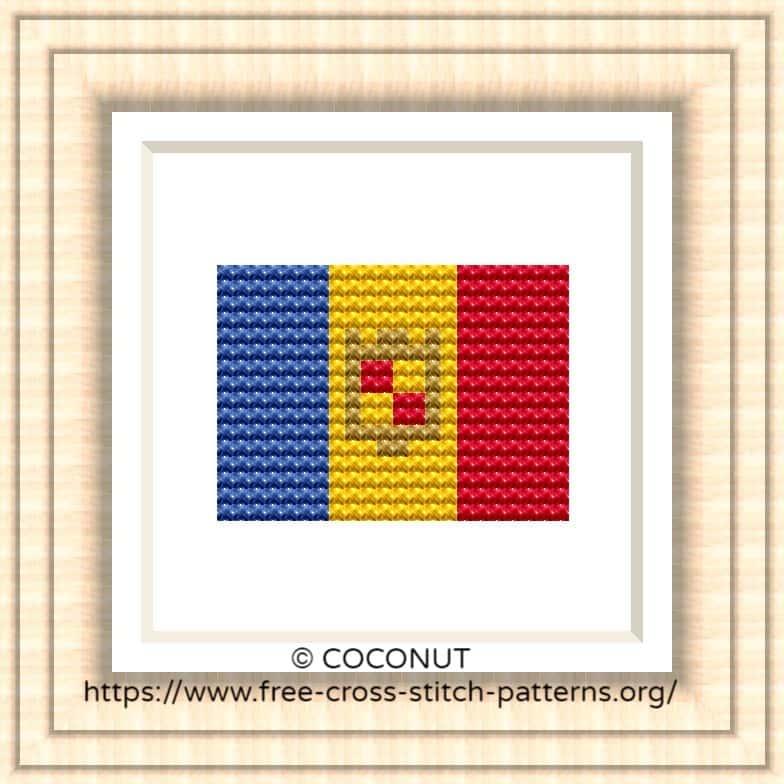 NATIONAL FLAG OF ANDORRA CROSS STITCH CHART