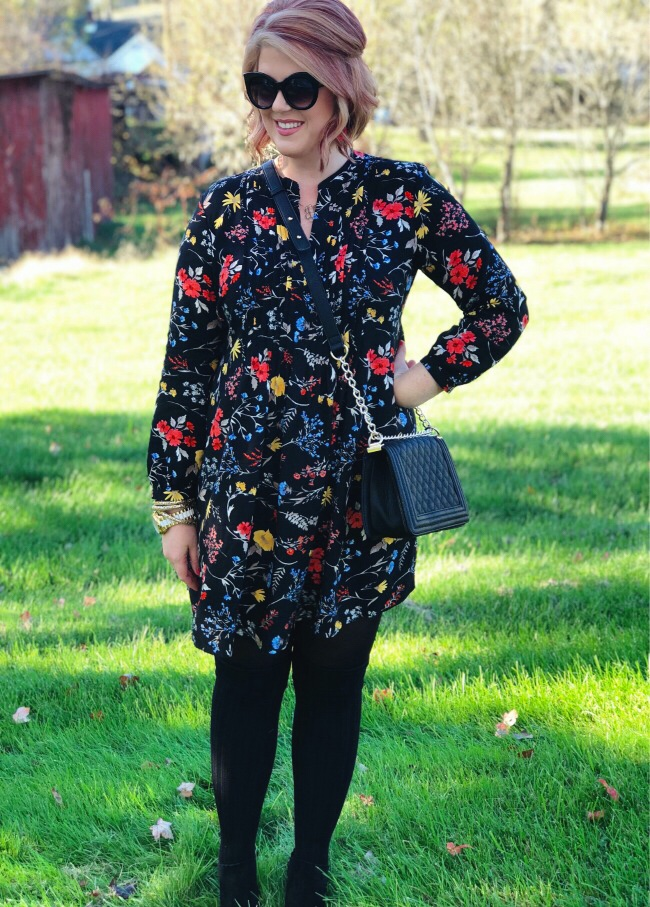 Black floral dress Old Navy, Jack Rogers booties