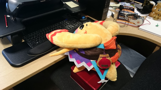 Riki plushie - nearly finished and at the office