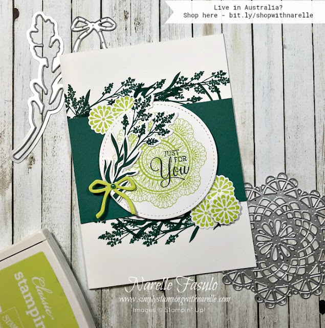 This card was made using the Dear Doily Bundle consisting of the stamp set and framelits.