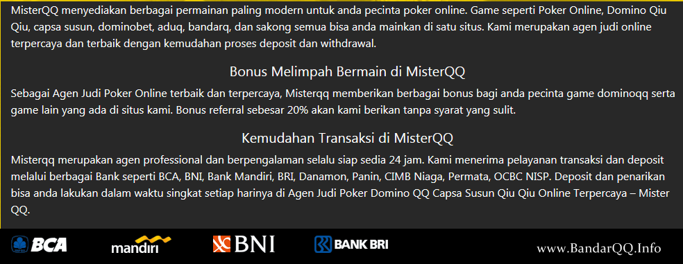 MisterQQ Agen Judi Ceme Indonesia Terbaik 2019