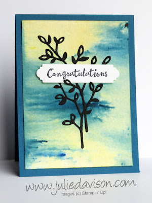 Stampin' Up! Brusho Crystal Colour Background ~ Petal Palette Congratulations Card ~ Occasions 2018 Catalog ~ www.juliedavison.com