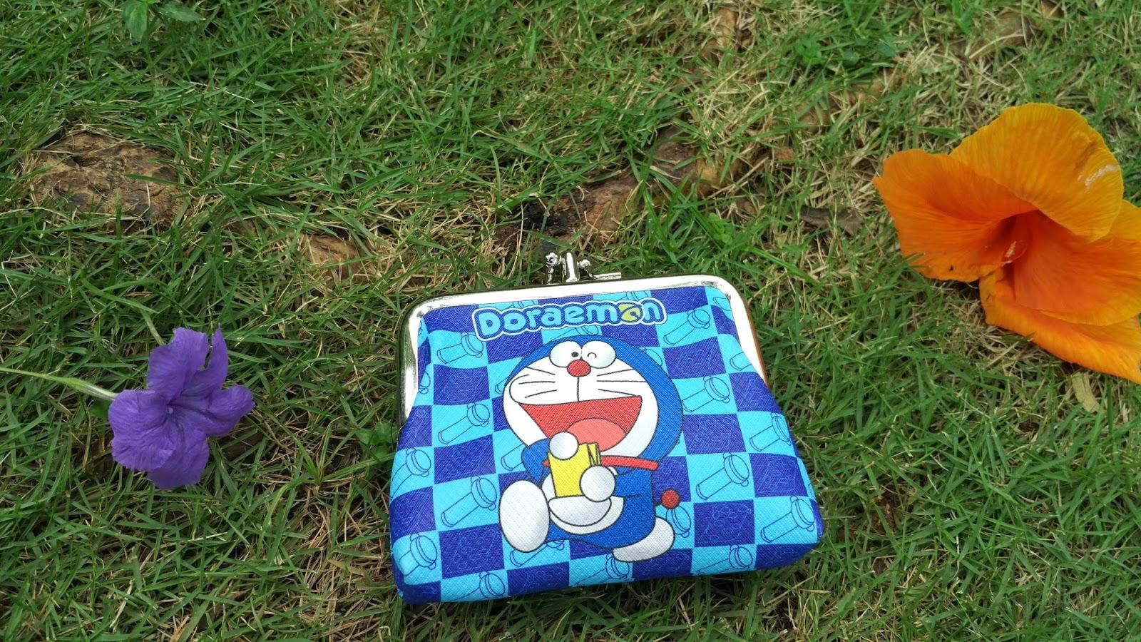 Dompet Koin Doraemon Dual Kantong, Dompet koin, dompet doraemon, dompet cewek, dompet anak, dompet kecil, dompet klip, dompet import
