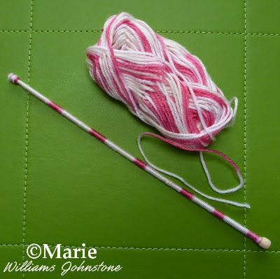 Pink color change yarn to make yarn wrapped wand